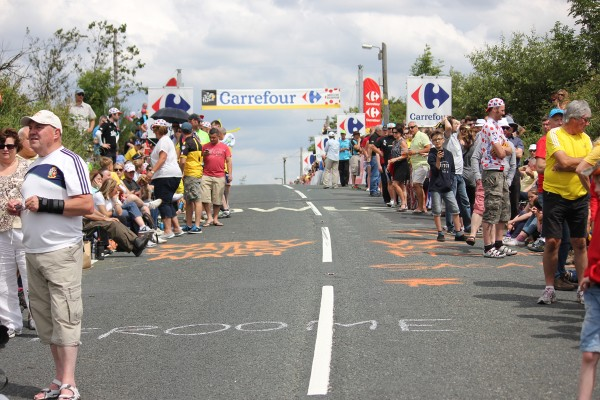 Fans gather at the top of cote de ripponden for the tour de france