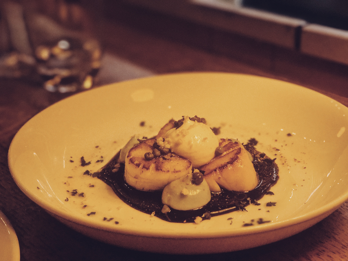Roast scallops at el gato negro