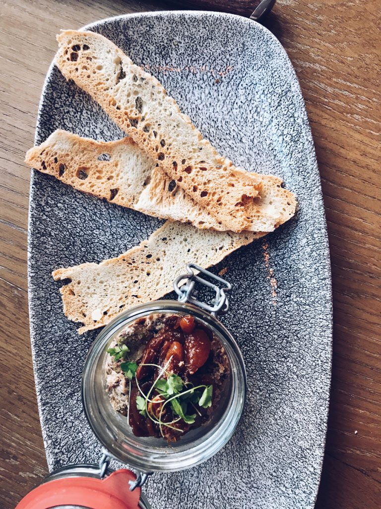 duck and sourdough starter at The Refectory Kitchen and Terrace in York
