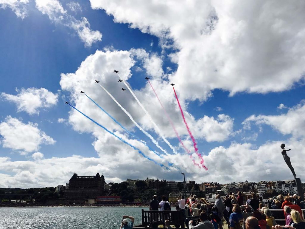 Red Arrows fly over scarborough