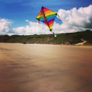 kite flying at filey bay