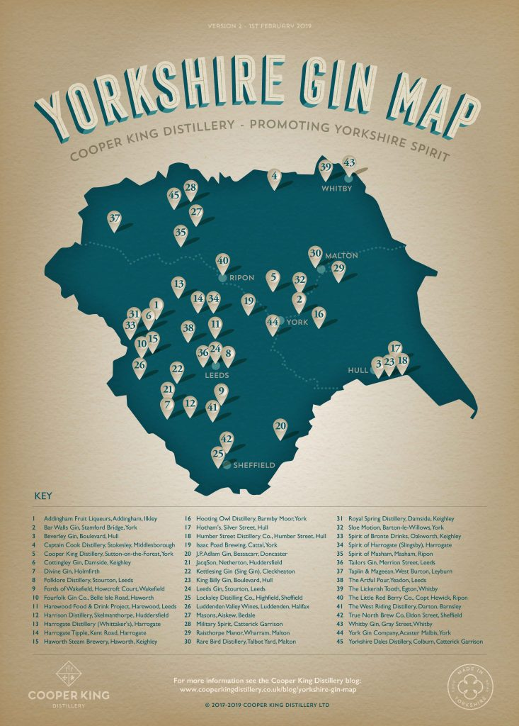 Yorkshire Gin Map